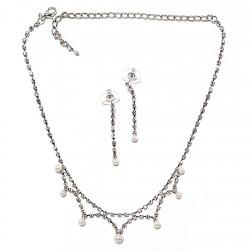 Juego bisutería metal pendientes largos y gargantilla, piedras blancas y perlas, cierre presión y mosquetón [2888]