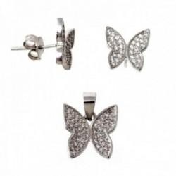 Juego pendientes colgante plata Ley 925m mariposas circonita [AB9633]