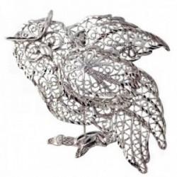 Broche alfiler plata Ley 925m búho calado rama [AB9640]