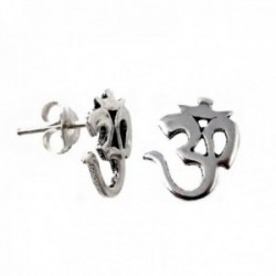 Pendientes plata Ley 925m amuleto símbolo OM [AB9644]