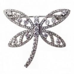 Broche plata Ley 925m libélula calada circonitas [AB9651]