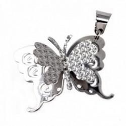 Colgante plata Ley 925m mariposa liso labrado doble alas [AB9652]