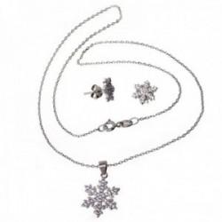 Juego pendientes gargantilla plata Ley 925m estrella nieve [AB9653]