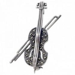 Broche alfiler plata Ley 925m violín arco marquesitas [AB9654]