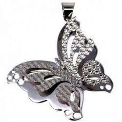 Colgante plata Ley 925m mariposa lisa labrada doble alas [AB9658]
