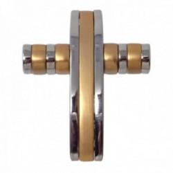Colgante acero inoxidable cruz bicolor rayas  [AB9669]