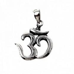 Colgante plata Ley 925m símbolo OM 18.6x16.5mm. amuleto [AB9681]