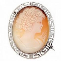 Broche colgante plata Ley 925m camafeo alfiler concha natural [AB9684]