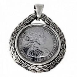 Colgante plata Ley 925m moneda borde labrado [AB9687]