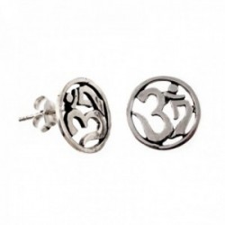 Pendientes plata Ley 925m símbolo OM calados 12.4mm. amuleto [AB9697]