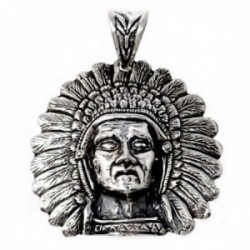 Colgante plata Ley 925m cabeza indio corona plumas [AB9699]