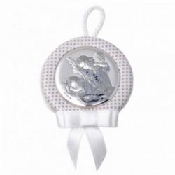 Medalla cuna bebé motivo ángel plata Ley 925m blanca lunares [AB9703]