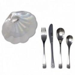 Set 4 cubiertos acero inox. concha motivo plata Ley 925m [AB9679GR]