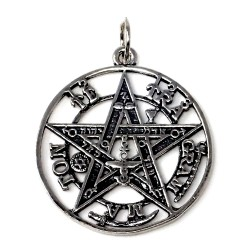 Colgante plata Ley 925m tetragramatón 30mm. amuleto [AC0089]