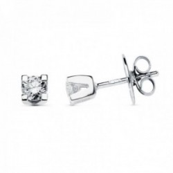 Pendientes oro blanco 18k niña diamantes 0.4ct. presión  4mm. [AC0094]