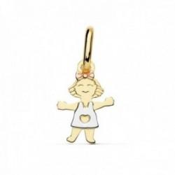 Colgante oro 18k tricolor motivo niña 12mm. alegre lazo [AC0095]