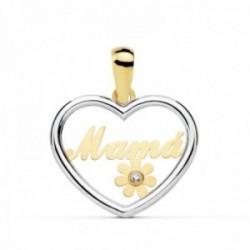 Colgante oro 18k bicolor 19mm. MAMÁ silueta corazón flor [AC0099]