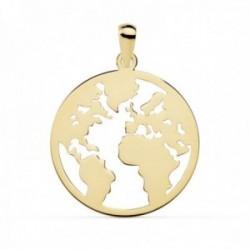 Colgante oro 18k mapamundi calado 20mm. liso mundo [AC0109]