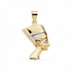 Colgante oro 18k bicolor Nefertitis 19mm. símbolo belleza [AC0111]