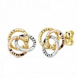 Pendientes oro 18k tricolor motivo aros 9mm. tallados calados [AC0118]