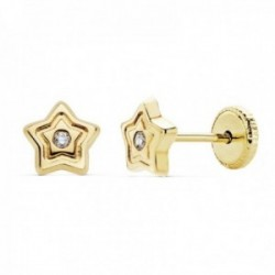 Pendientes oro 18k niña 6mm. estrella lisos circonita tuerca [AC0131]