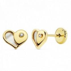 Pendientes oro 18k niña 7mm. nácar corazón circonita [AC0133]