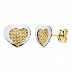 Pendientes oro 18k bicolor 9mm. corazón tallados cerco liso [AC0136]
