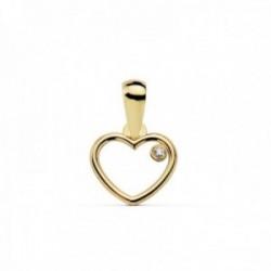 Colgante oro 18k motivo corazón 9mm. calado circonita [AC0147]