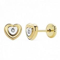 Pendientes oro 18k bicolor 6mm. niña corazón circonita [AC0149]