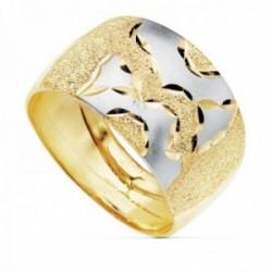 Sortija oro 18k bicolor matizada ancho máximo cabeza 11mm. [AC0163]