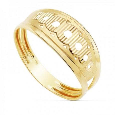 Sortija oro 18k calada círculos tallada ancho máximo 8mm. [AC0167]