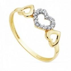 Sortija oro 18k bicolor centro circonitas corazones calados [AC0172]