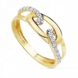 Sortija oro 18k bicolor circonitas cadena entrelazada [AC0175]