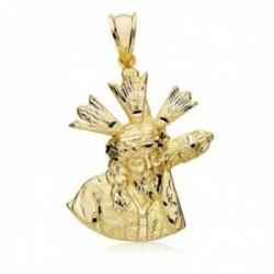 Colgante oro 18k silueta 28mm. Cristo Gran Poder medalla [AC0199]