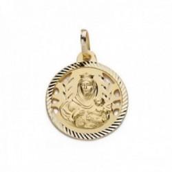 Colgante oro 18k Virgen Carmen 18mm. calada tallada medalla [AC0200]