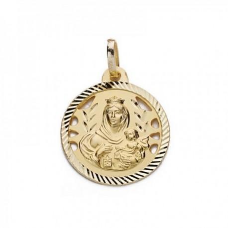 Colgante oro 18k Virgen Carmen 18mm. calada tallada medalla [AC0200GR]
