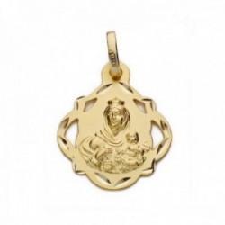 Colgante oro 18k Virgen Carmen Pandereta 19mm. medalla [AC0202]