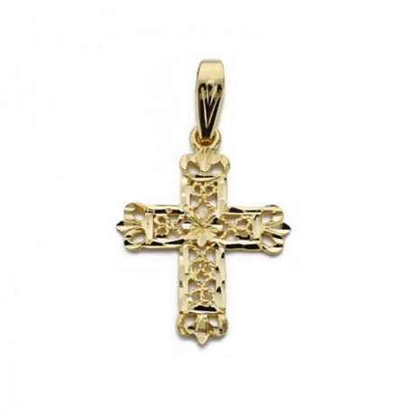 Colgante cruz oro 18k filigrana 24mm. [AC0204]