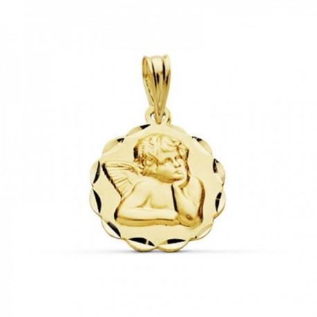 Medalla oro 18k Angelito burlón 14mm. borde tallado [AC0205]