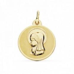 Medalla oro 18k Virgen Niña 18mm. borde brillo [AC0206GR]