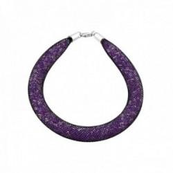 Pulsera plata Ley 925m. cuerpo piedras violetas [AB8662]