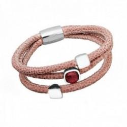 Pulsera plata Ley 925m. cuero rosado piedra roja [AB8682]
