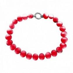 Pulsera plata Ley 925m. perlas shell imitación 19mm. rojas [AB8692]