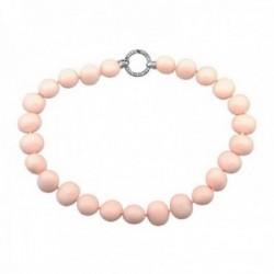 Pulsera plata Ley 925m. perlas shell imitación 19mm. coral [AB8693]