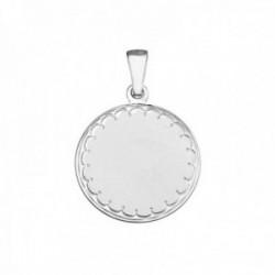 Medalla plata Ley 925m. lisa 22mm. borde tallado redonda [AB8726]