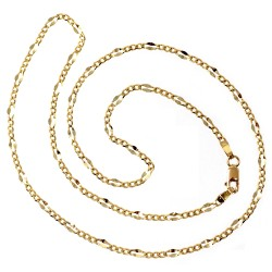 Cadena oro 18k 44.5cm. lapidada eslabón 3x1 alterna reliada brillo unisex maciza