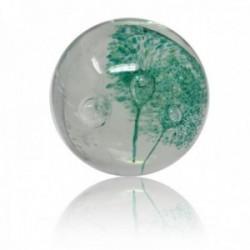 Bola pisapapeles cristal detalles flores verdes blanca [AB9482]