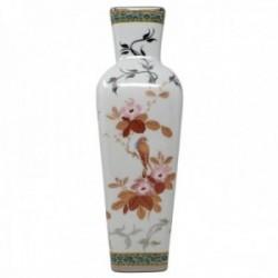 Florero cerámica blanco motivos pajaros flores hojas [AB9486]