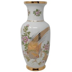 Florero cerámica motivo pájaro flores detalles dorados [AB9471]