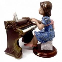 Figura niña porcelana piano notas musicales [AB9488]